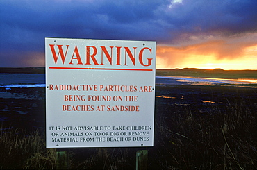 Dounreay, Warning sign at Sandside Bay, Sutherland, Scotland
