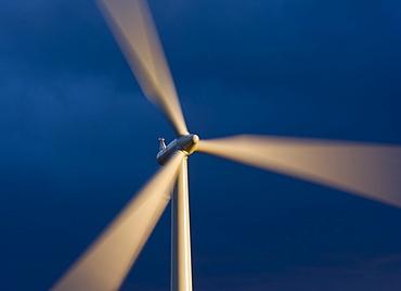 Revolving blades of a 2.3 megawatt wind turbine, Blacklaw Windfarm, South Lanarkshire, Scotland