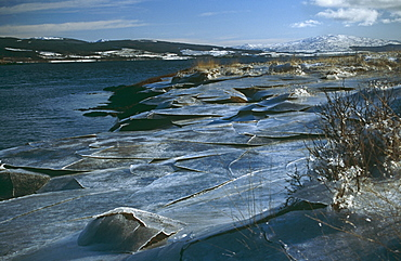 Ice sheets left 'high and dry' by retreating tidal River Aros. Hebrides, Scotland