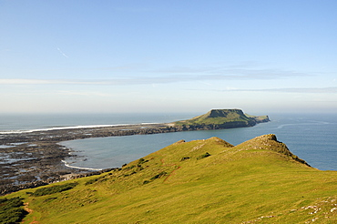 The Worm's Head with causeway exposed at low tide, Rhossili, The Gower peninsula, Wales, United Kingdom, Europe