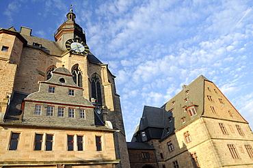 Landgrave castle clock tower, University Museum of Cultural History, Marburg, Hesse, Germany, Europe