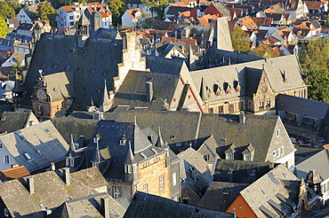 Rooftops of medieval buildings in Marburg, including the Town Hall and Old University, Marburg, Hesse, Germany, Europe