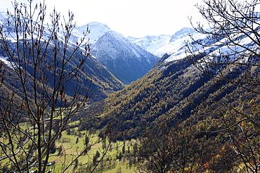 Pyreneean valley near Bagneres de Luchon with big peaks on the French and Spanish border in the background, Hautes-Pyrenees, France, Europe