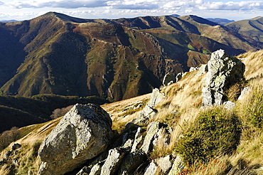 Pyreneean mountain ridges near Roncesvalles in late autumn, on the border of France and Spain, Europe