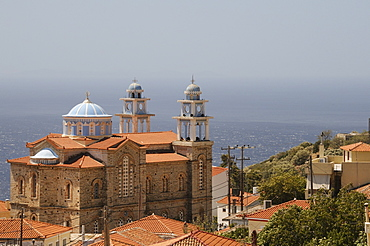 Overview of Marathokambos church with the Aegean Sea in the background, Samos, Eastern Sporades, Greek Islands, Greece, Europe