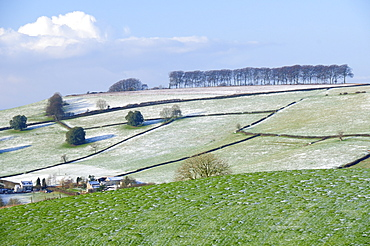 Frozen, snow dusted pastureland, arable fields and row of trees in winter,  Frozen Hill, near Bath, UK.