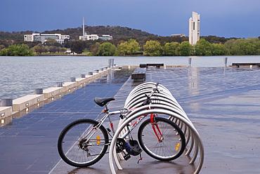 Bike on pontoon after storm, Lake Burley Griffin, Canberra, Australian Capital Territory, Australia - 994-5