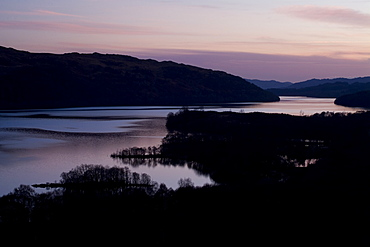 Loch Awe high view point sunset.  Argyll, Scotland