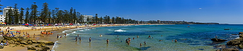 Panoramic of Surf Lifesaving contest, Manly Beach, Sydney, New South Wales, Australia, Pacific