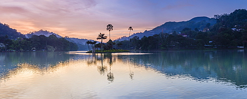 Kandy Lake and the island at sunrise, Kandy, Central Province, Sri Lanka, Asia