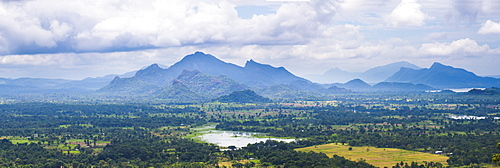Mountain landscape, taken from the top of Sigiriya Rock Fortress (Lion Rock), Sri Lanka, Asia