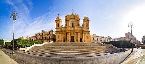 St. Nicholas Cathedral (Duomo) and Basilica San Salvatore in Piazza Municipio, Noto, Val di Noto, UNESCO World Heritage Site, Sicily, Italy, Europe