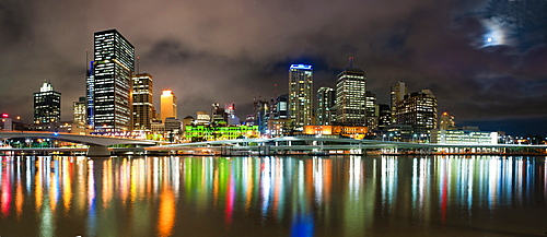 Central business district city skyline at night taken from Southbank of Brisbane, Queensland, Australia, Pacific