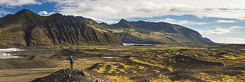 Tourist in Skaftafell National Park, South Region of Iceland (Sudurland), Iceland, Polar Regions