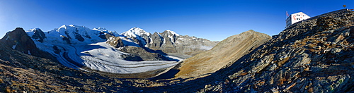 Mountain Hotel Diavolezza with view otowards the Bernina Alps with Piz Palue (3905 m), Bellavista (3922 m), Piz Bernina (4049 m)