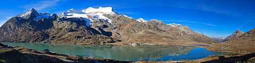 Lake Bianco with Piz Cambrena (3602 m) at the Bernina pass, Engadin, Grisons, Switzerland