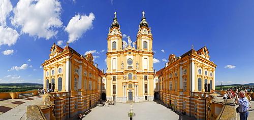 Panorama view of Melk Abbey, Wachau valley, Lower Austria, Austria