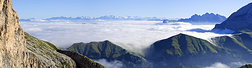 View over sea of fog to Zillertal Alps, South Tyrol, Italy