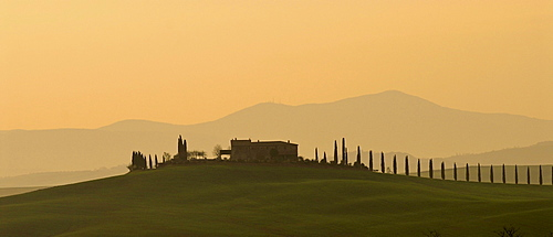 House on a hill with cypresses on an alley, Le Crete sienese, Tuscan landscape, Tuscany, Italy, EuropeCrete