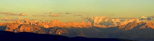panorama Dolomites with Schlern, Kesselkogel, Rosengartenspitze, Rotwand, Palagruppe and Latemar, Oberkaser, Texelgruppe range, South Tyrol, Italy