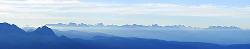 panorama Dolomites with Iffinger Spitze, Piz Boe, Langkofel, Plattkofel, Marmolada, Kesselkogel, Rosengartenspitze, Palagruppe and Latemar, Spronser Joch, Texelgruppe range, South Tyrol, Italy