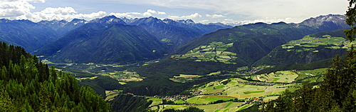 Panorama of Rodeneck, Mountain landscape, Puster valley, South Tyrol, Italy