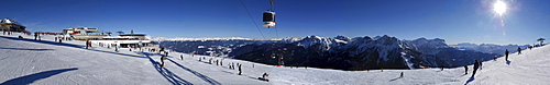 Panorama of Kronplatz, Skiing area with lifts and gondola, Puster Valley, South Tyrol, Italy