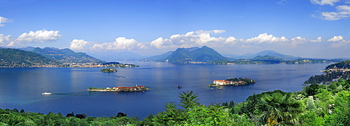 Panorama of lake Maggiore with Borromee isles, Isole Borromee, Isola Superiore, Isola Bella and Isola Madre, Stresa, lake Maggiore, Lago Maggiore, Piemont, Italy