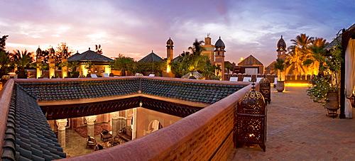 Rooftop terrace of Riad La Sultana, Luxury Hotel, Marrakech, Morocco, Africa