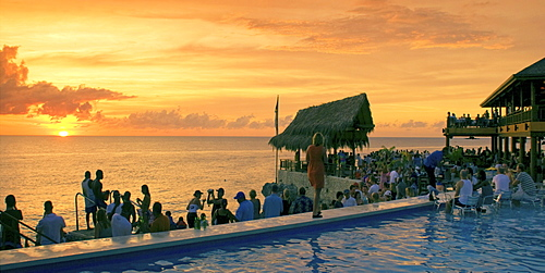 Jamaica Negril Ricks Cafe open air bar viewpoint at sunset