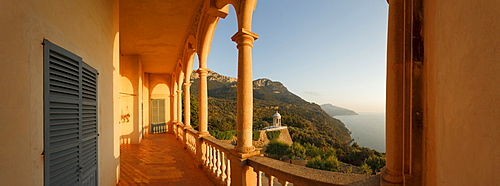 View onto coast area from Son Marroig manor, Tramuntana mountains, Mallorca, Balearic Islands, Spain, Europe