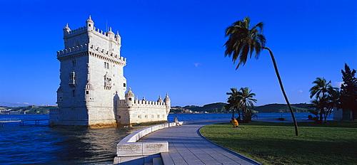 The tower Torre de Belem at the river Tejo, Lisbon, Portugal, Europe