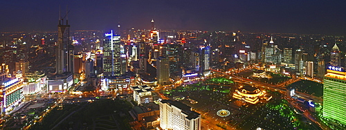 People's Square, Birdseye panorama, view of People's Square, Nanjing Road, skyline, City Hall, People's Park, Yan'an Road, Skyline