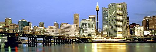 Austalia, sydney, Darling harbour, Panorama at twilight