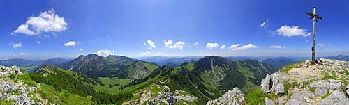 panorama from Aiplspitze with Hochmiesing, Rotwand, Taubenstein, Benzingspitz, Jaegerkamp and lake Schliersee, Spitzing range, Bavarian foothills, Bavarian range, Upper Bavaria, Bavaria, Germany
