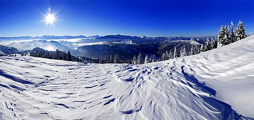 Snow-covered mountain scene, panorama from summit of Riedberger Horn, Obermaiselstein, Oberstdorf, Allgaeu range, Allgaeu, Swabia, Bavaria, Germany