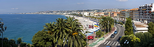 View of Nice and the Mediterranean from the Quai des Etats-Unis, Nice, France, Europe