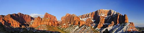 Panorama of Kolob Canyon with Beatty Point, Nagunt Mesa and Timber Top Mesa, Zion National Park, Utah, Southwest, USA, America