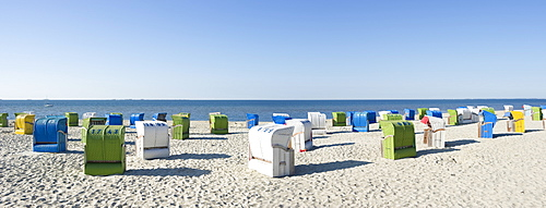 Colourful beachchairs on the beach, Wyk, Foehr, North Frisian Islands, Schleswig-Holstein, Germany, Europe