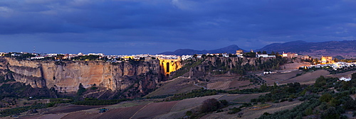 Panorama of the picturesque town of Ronda at twilight, Andalusia, Spain