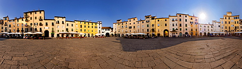 A 360° panorama of the elliptical shaped Piazza dell'Anfiteatro in Lucca on a sunny afternoon, Tuscany, Italy