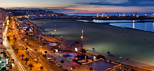 Avenue Mohamed VI and the beach at early evening, Tangiers, Morocco