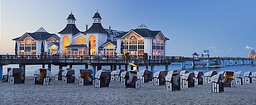 Sellin pier in the evening light, Ruegen, Mecklenburg-Western Pomerania, Germany