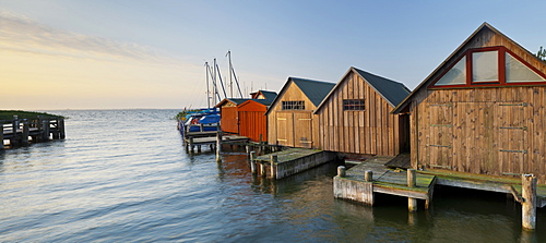 Boathouses at Althagen harbour Ahrenshoop, Barther Bodden, Mecklenburg-Western Pomerania, Germany