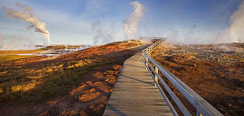 Geothermal hot springs near Gunnuhver, wooden platform, Reykjanes, Iceland