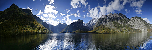 View over lake Konigssee to Watzmann massif, Berchtesgadener Land, Upper Bavaria, Germany