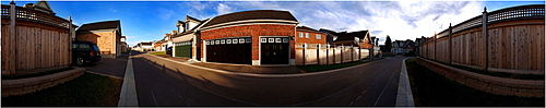 360 view panorama of driveway and garage door, Markham, Ontario