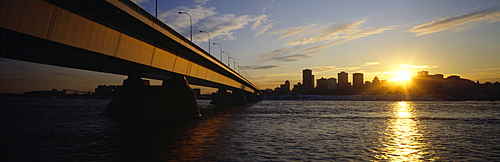 Concord Bridge and city skyline from Ile Notre-Dame, Montreal, Quebec