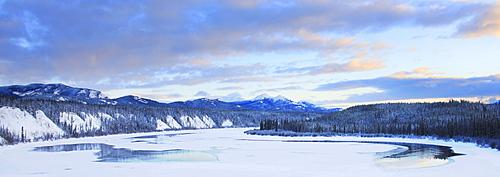 Teslin River at sunset, Teslin, Yukon