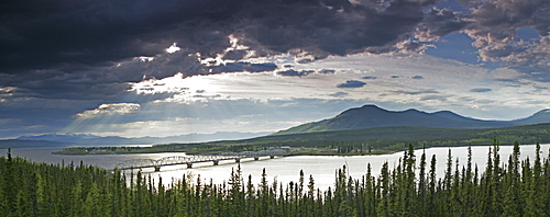 Sunlight Filtering through Clouds above Teslin, Yukon